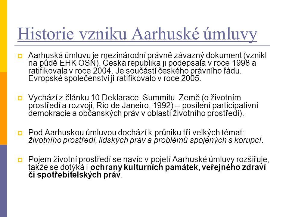 Historie vzniku Aarhuské úmluvy  Aarhuská úmluvu je mezinárodní právně závazný dokument (vznikl na půdě EHK OSN).