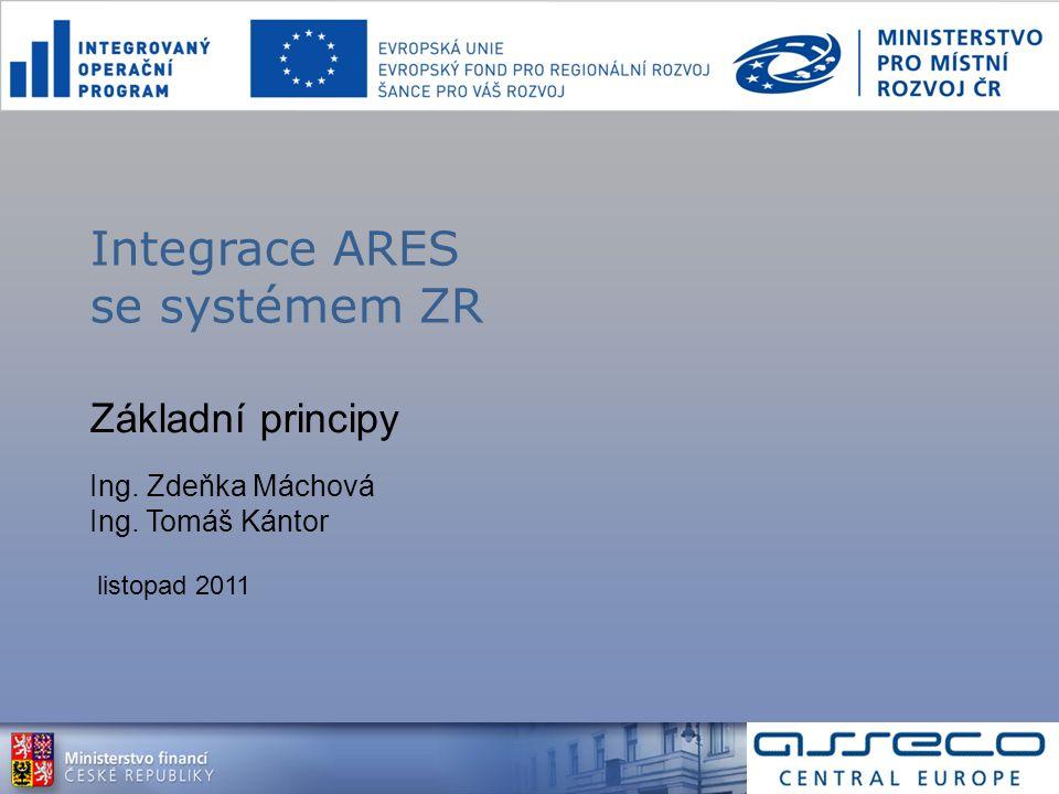 Základní principy Ing. Zdeňka Máchová Ing. Tomáš Kántor listopad 2011 Integrace ARES se systémem ZR