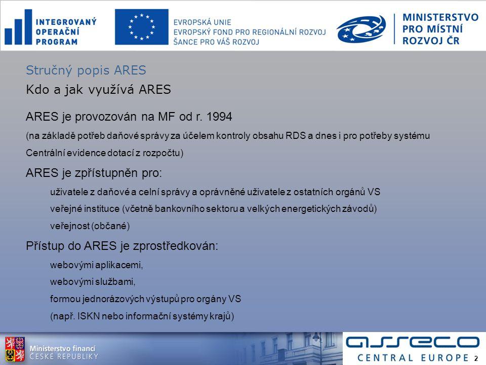 Kdo a jak využívá ARES ARES je provozován na MF od r.