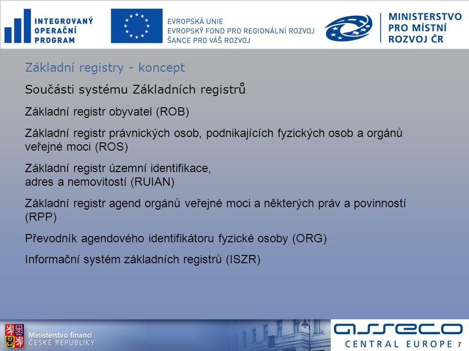 Základní registry - koncept Součásti systému Základních registrů Základní registr obyvatel (ROB) Základní registr právnických osob, podnikajících fyzických osob a orgánů veřejné moci (ROS) Základní registr územní identifikace, adres a nemovitostí (RUIAN) Základní registr agend orgánů veřejné moci a některých práv a povinností (RPP) Převodník agendového identifikátoru fyzické osoby (ORG) Informační systém základních registrů (ISZR) 7