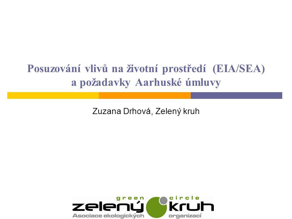 Posuzování vlivů na životní prostředí (EIA/SEA) a požadavky Aarhuské úmluvy Zuzana Drhová, Zelený kruh