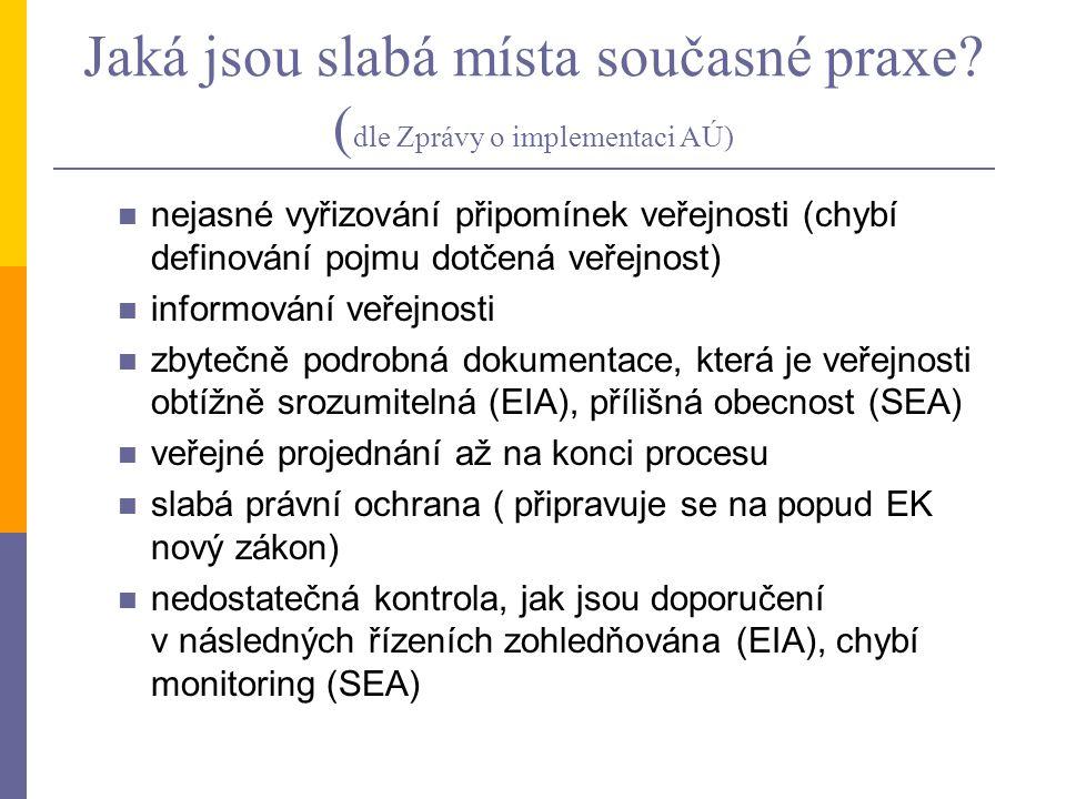 Jaká jsou slabá místa současné praxe? ( dle Zprávy o implementaci AÚ) nejasné vyřizování připomínek veřejnosti (chybí definování pojmu dotčená veřejno