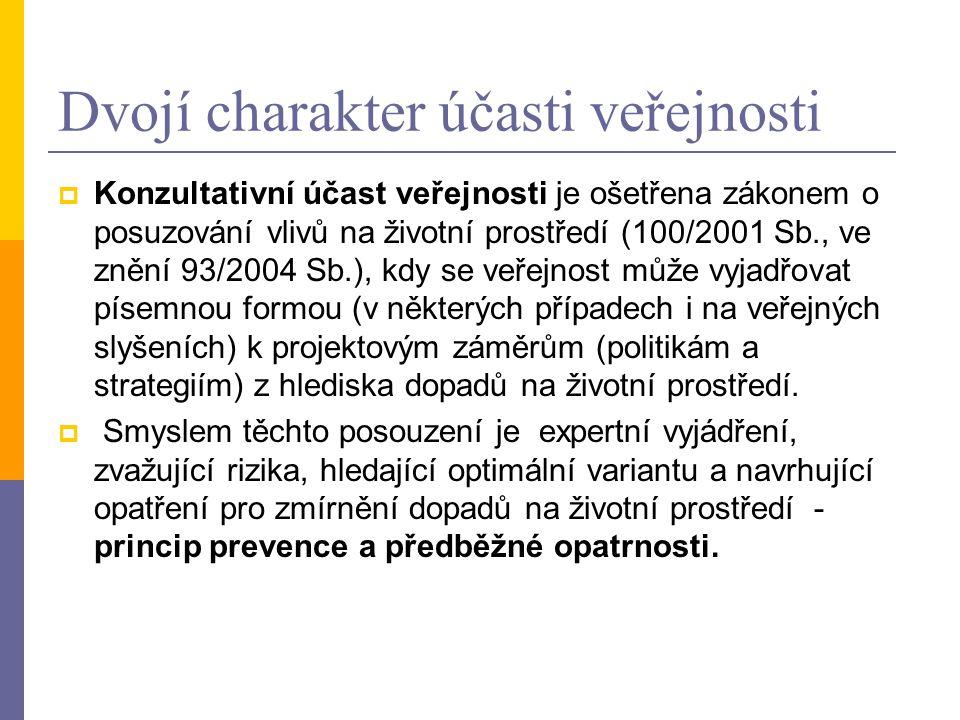  Konzultativní účast veřejnosti je ošetřena zákonem o posuzování vlivů na životní prostředí (100/2001 Sb., ve znění 93/2004 Sb.), kdy se veřejnost mů