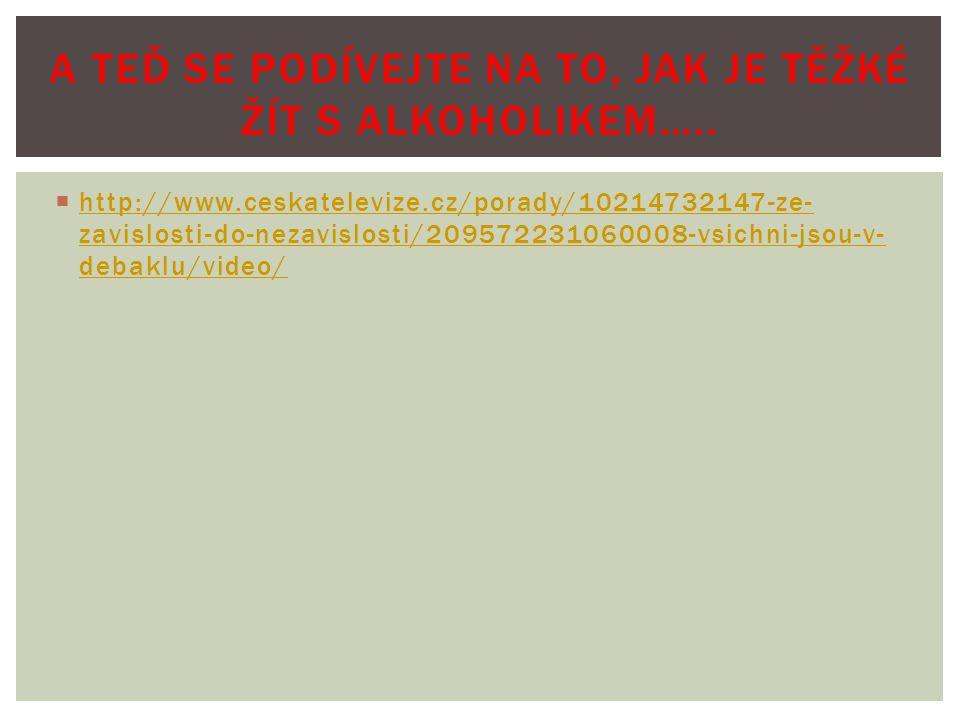  http://www.ceskatelevize.cz/porady/10214732147-ze- zavislosti-do-nezavislosti/209572231060008-vsichni-jsou-v- debaklu/video/ http://www.ceskatelevize.cz/porady/10214732147-ze- zavislosti-do-nezavislosti/209572231060008-vsichni-jsou-v- debaklu/video/ A TEĎ SE PODÍVEJTE NA TO, JAK JE TĚŽKÉ ŽÍT S ALKOHOLIKEM…..
