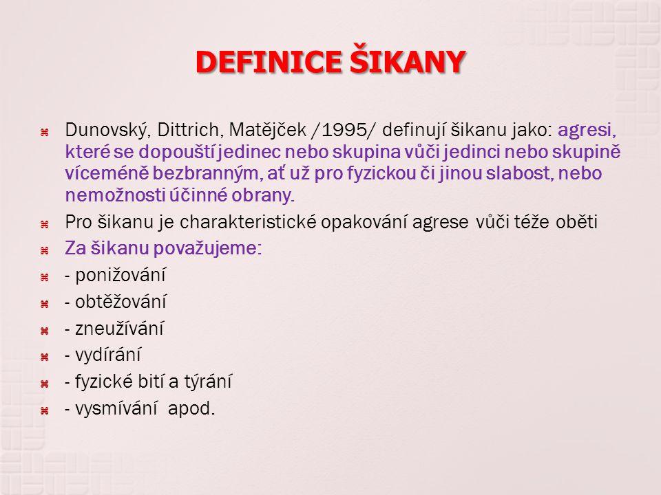 DEFINICE ŠIKANY  Dunovský, Dittrich, Matějček /1995/ definují šikanu jako: agresi, které se dopouští jedinec nebo skupina vůči jedinci nebo skupině v
