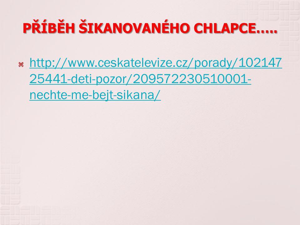 PŘÍBĚH ŠIKANOVANÉHO CHLAPCE…..  http://www.ceskatelevize.cz/porady/102147 25441-deti-pozor/209572230510001- nechte-me-bejt-sikana/ http://www.ceskate