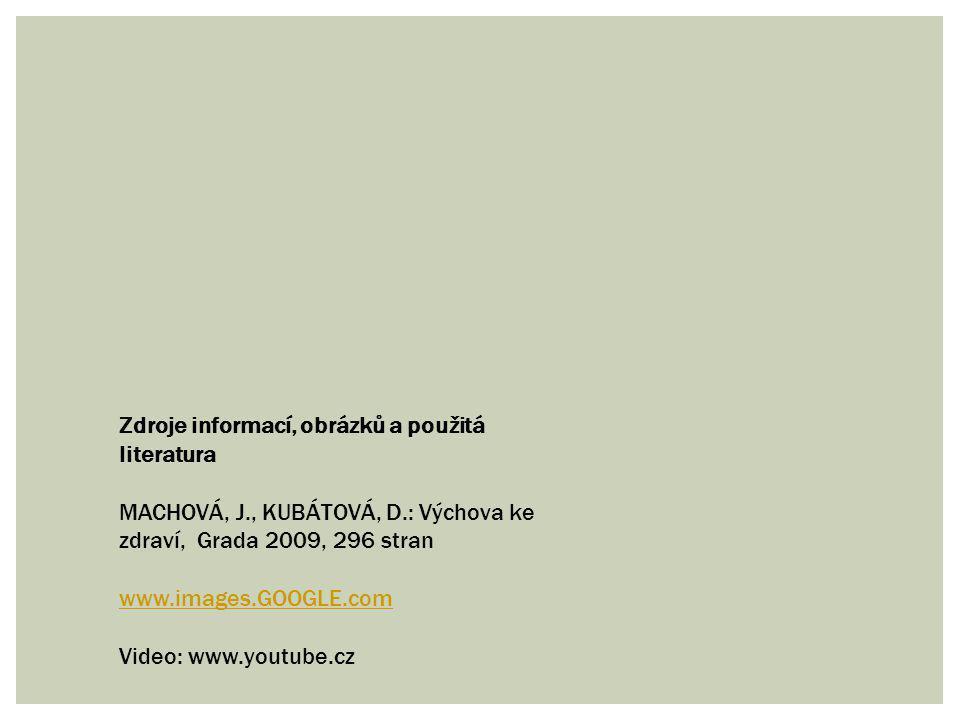 Zdroje informací, obrázků a použitá literatura MACHOVÁ, J., KUBÁTOVÁ, D.: Výchova ke zdraví, Grada 2009, 296 stran www.images.GOOGLE.com Video: www.yo
