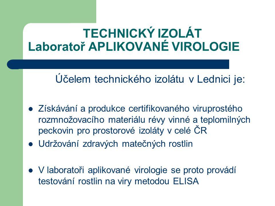 TECHNICKÝ IZOLÁT Laboratoř APLIKOVANÉ VIROLOGIE Účelem technického izolátu v Lednici je: Získávání a produkce certifikovaného viruprostého rozmnožovac
