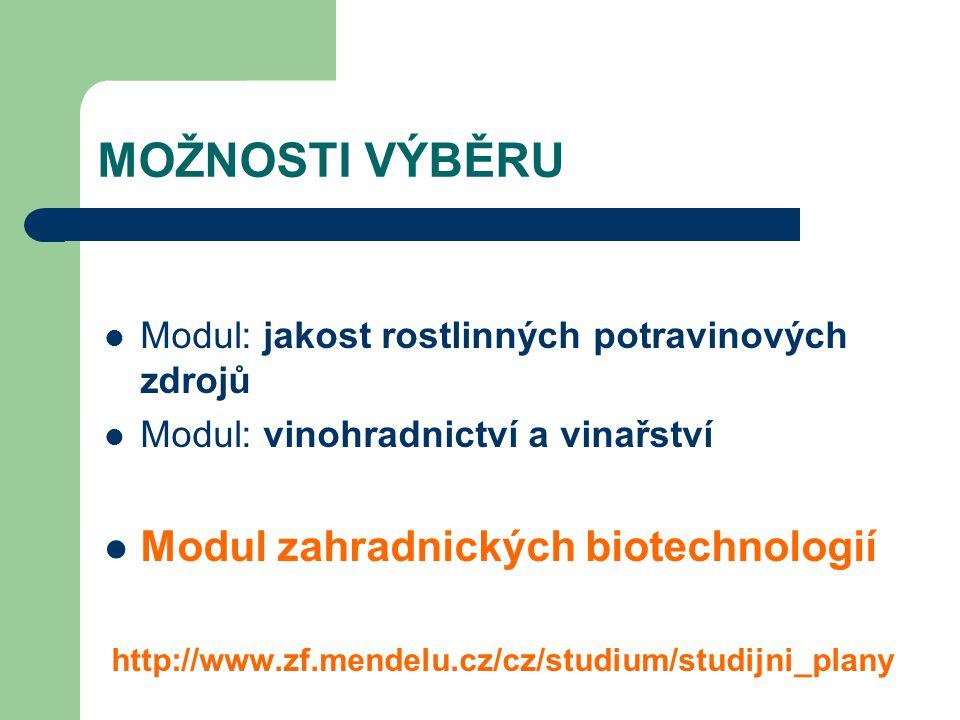 MOŽNOSTI VÝBĚRU Modul: jakost rostlinných potravinových zdrojů Modul: vinohradnictví a vinařství Modul zahradnických biotechnologií http://www.zf.mend