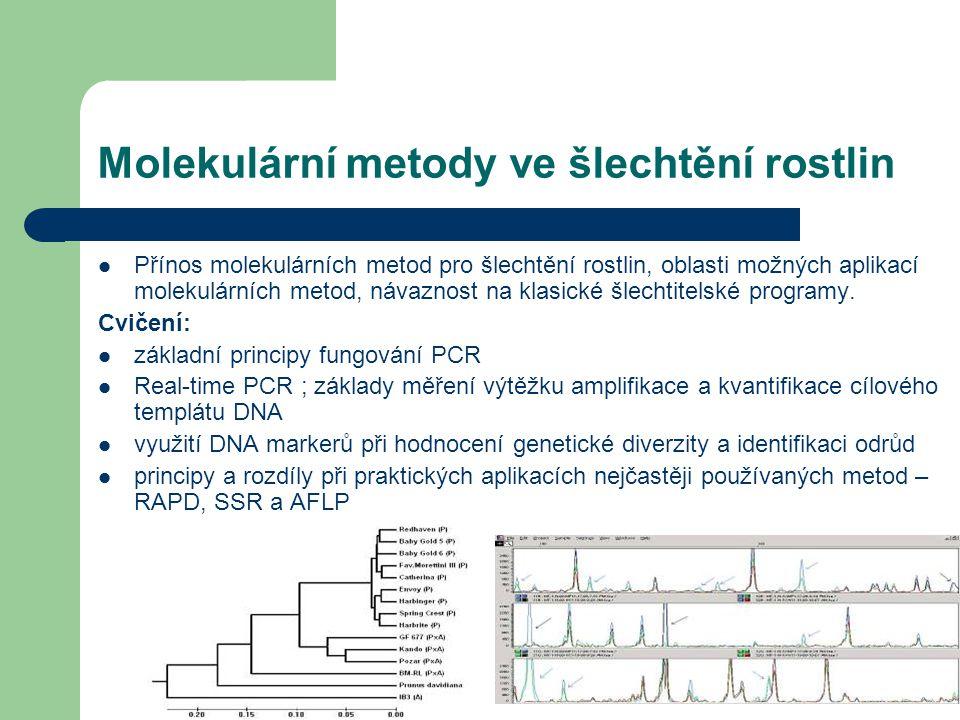 Molekulární metody ve šlechtění rostlin Přínos molekulárních metod pro šlechtění rostlin, oblasti možných aplikací molekulárních metod, návaznost na k