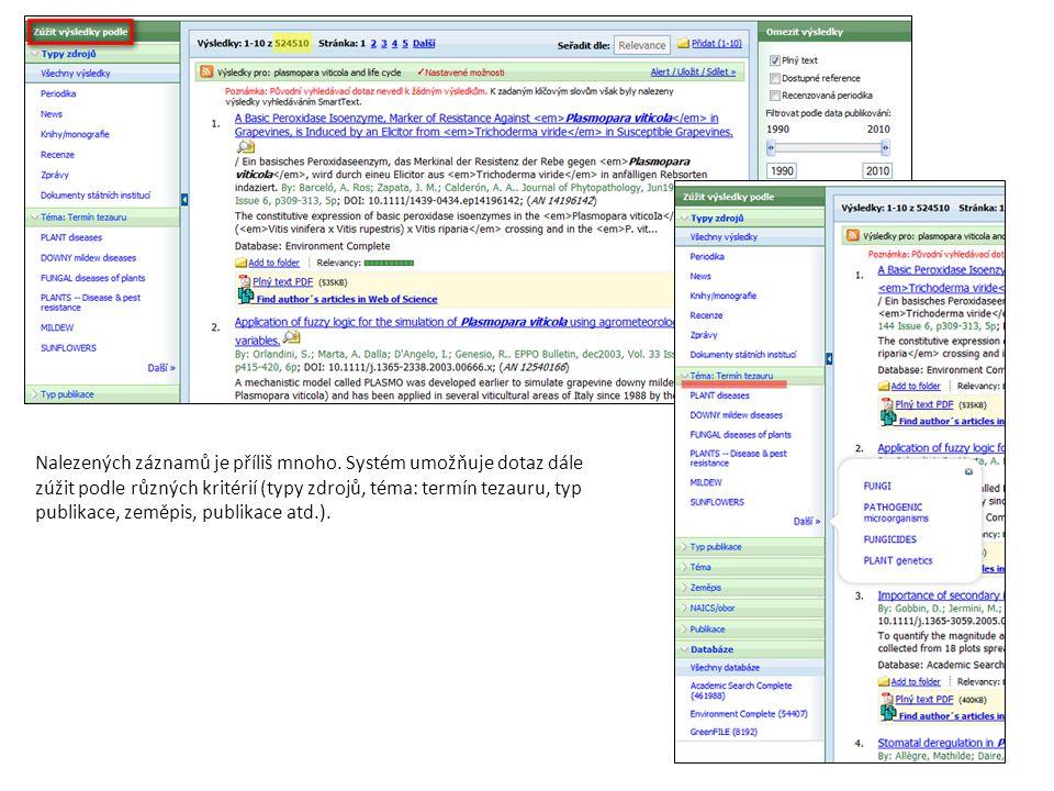 Nalezených záznamů je příliš mnoho. Systém umožňuje dotaz dále zúžit podle různých kritérií (typy zdrojů, téma: termín tezauru, typ publikace, zeměpis