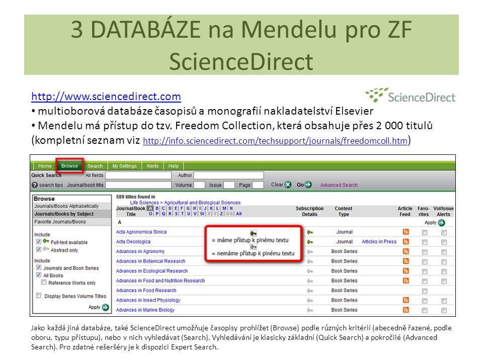 3 DATABÁZE na Mendelu pro ZF ScienceDirect http://www.sciencedirect.com multioborová databáze časopisů a monografií nakladatelství Elsevier Mendelu má přístup do tzv.