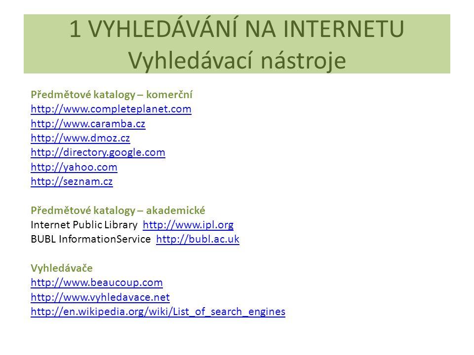 1 VYHLEDÁVÁNÍ NA INTERNETU Vyhledávací nástroje Předmětové katalogy – komerční http://www.completeplanet.com http://www.caramba.cz http://www.dmoz.cz http://directory.google.com http://yahoo.com http://seznam.cz Předmětové katalogy – akademické Internet Public Library http://www.ipl.orghttp://www.ipl.org BUBL InformationService http://bubl.ac.ukhttp://bubl.ac.uk Vyhledávače http://www.beaucoup.com http://www.vyhledavace.net http://en.wikipedia.org/wiki/List_of_search_engines