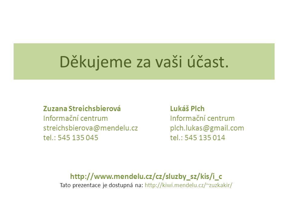 Děkujeme za vaši účast. Zuzana Streichsbierová Lukáš Plch Informační centrum Informační centrum streichsbierova@mendelu.cz plch.lukas@gmail.com tel.: