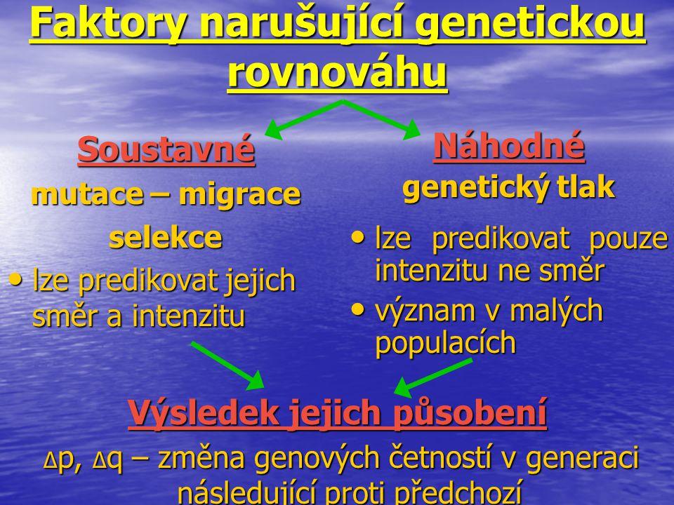 Faktory narušující genetickou rovnováhu Soustavné mutace – migrace selekce lze predikovat jejich směr a intenzitu lze predikovat jejich směr a intenzi