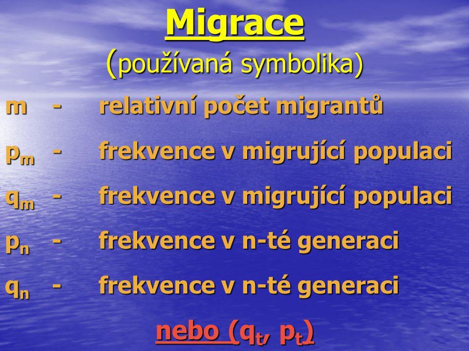 Migrace ( používaná symbolika) m-relativní počet migrantů p m -frekvence v migrující populaci q m -frekvence v migrující populaci p n -frekvence v n-t