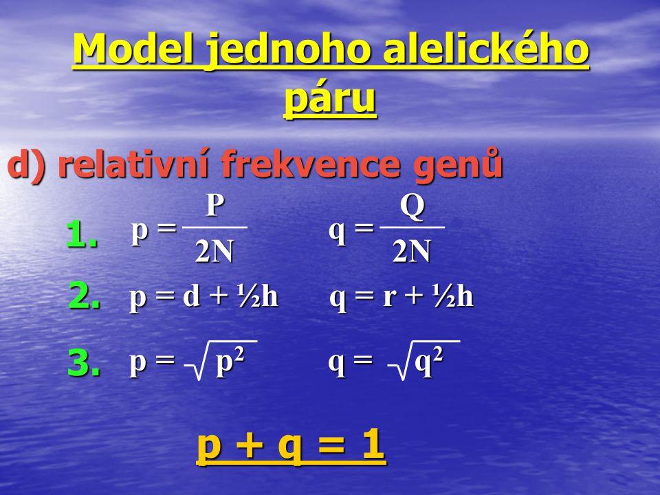 p = p 2 q = q 2 Model jednoho alelického páru d) relativní frekvence genů p + q = 1 p =p =p =p = P 2N q =q =q =q =Q 2N2N2N2N 1. 2. 3. p = d + ½h q = r