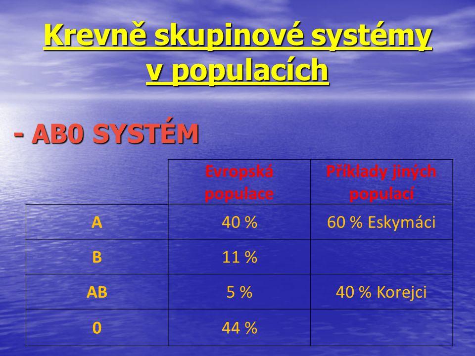 Krevně skupinové systémy v populacích - AB0 SYSTÉM - AB0 SYSTÉM Evropská populace Příklady jiných populací A40 %60 % Eskymáci B11 % AB5 %40 % Korejci