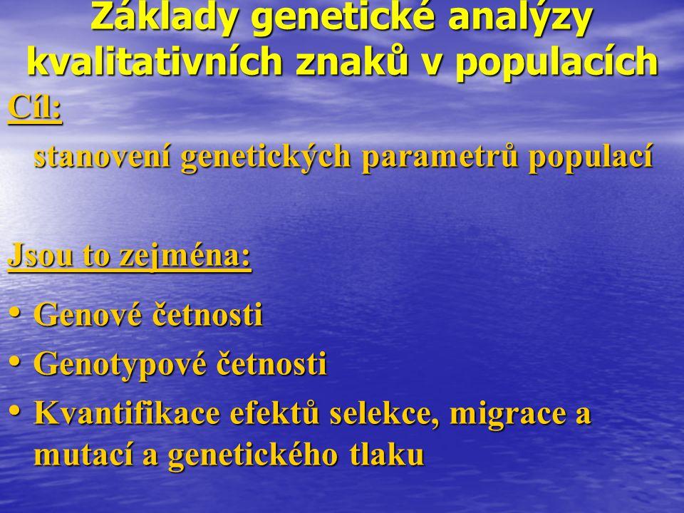 Základy genetické analýzy kvalitativních znaků v populacích Cíl: stanovení genetických parametrů populací Jsou to zejména: Genové četnosti Genové četn
