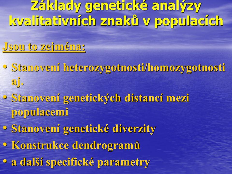 Základy genetické analýzy kvalitativních znaků v populacích Jsou to zejména: Stanovení heterozygotnosti/homozygotnosti aj. Stanovení heterozygotnosti/