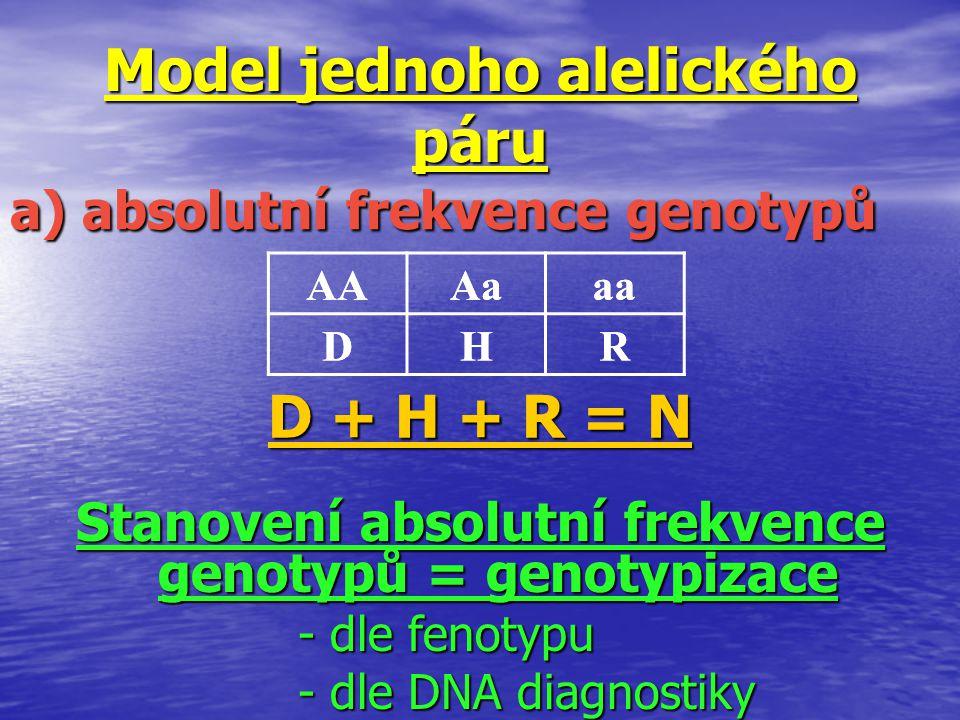 Model jednoho alelického páru a) absolutní frekvence genotypů AAAaaa DHR AAAaaa DHR D + H + R = N Stanovení absolutní frekvence genotypů = genotypizac