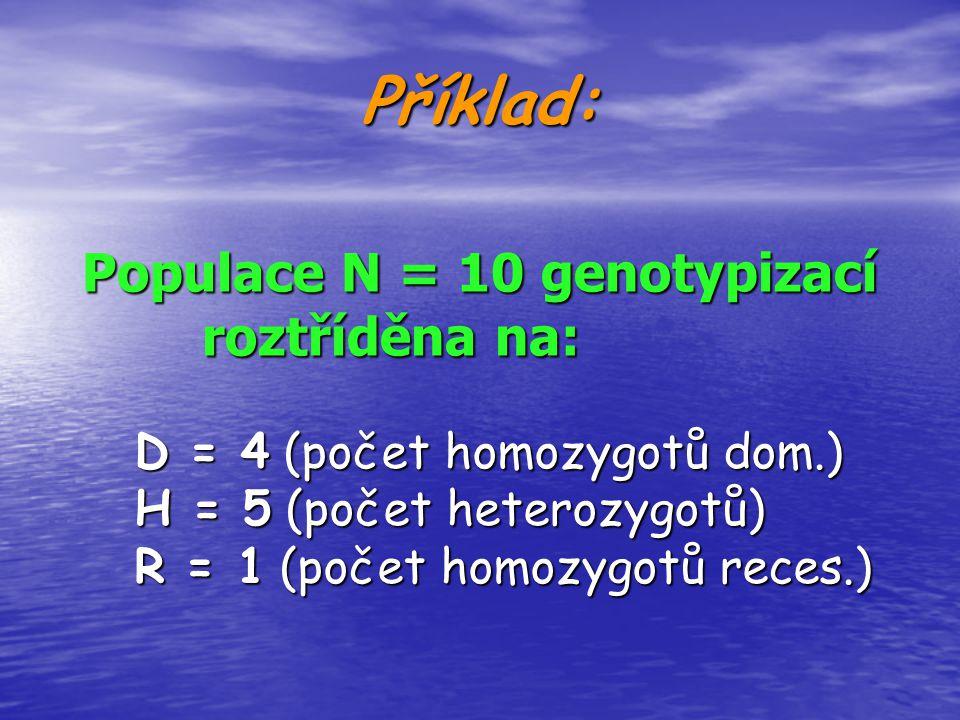 Příklad: Populace N = 10 genotypizací roztříděna na: D = 4 (počet homozygotů dom.) H = 5 (počet heterozygotů) R = 1 (počet homozygotů reces.)