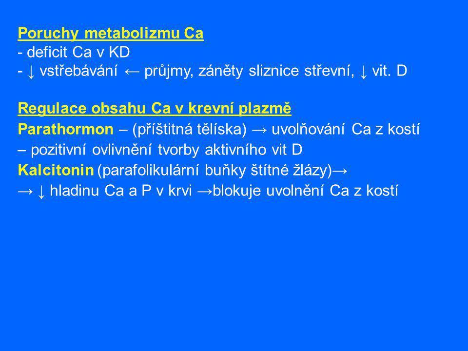 PORUCHY Kalcinózy – kalcifikace měkkých tkání (kalcinogenní faktor- trojštět žlutavý)-S, B.