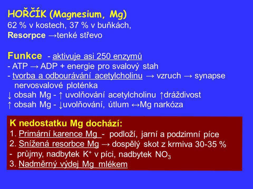 Pastevní tetanie – hypomagneziemie za 5 -10 dní po zahájení pastvy, klinicky za 2-5 týdnů - ↑ fyzická zátěž, prochladnutí urychlují nástup - zvýšená nervosvalová dráždivost →křeče (plovací pohyby), - předrážděnost, třes svalstva, stříhání ušima, ulehnutí, strnulá chůze Úhyn v důsledků ochrnutí dýchacích svalů Často hromadný výskyt, subklinický stav Předcházení hypomagneziemii - postupný přechod na pastvu - dotace Mg před zahájením pastvy 1-2 týdny - lizy →léčba i.v., i.m.