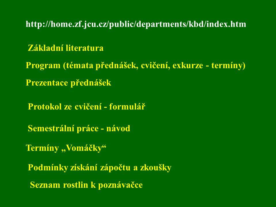 http://home.zf.jcu.cz/public/departments/kbd/index.htm Základní literatura Prezentace přednášek Program (témata přednášek, cvičení, exkurze - termíny)