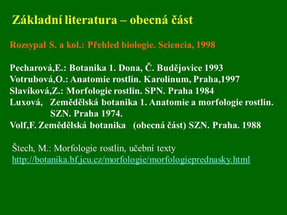 Základní literatura – obecná část Rozsypal S. a kol.: Přehled biologie. Sciencia, 1998 Pecharová,E.: Botanika 1. Dona, Č. Budějovice 1993 Votrubová,O.