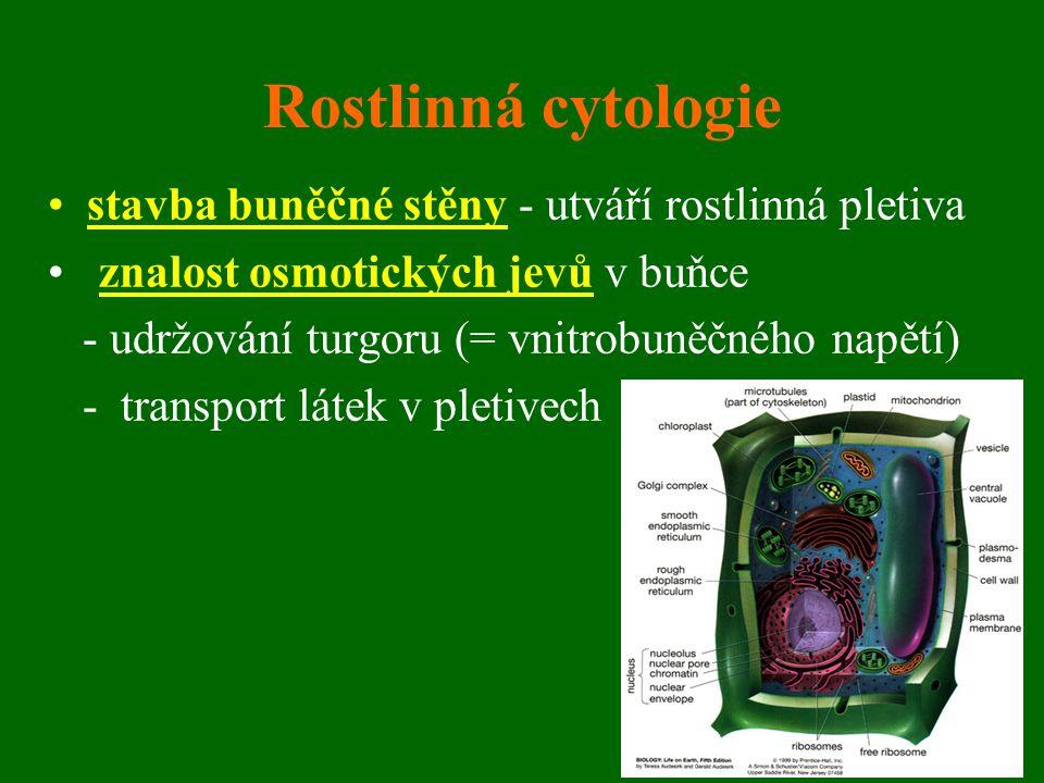 Rostlinná cytologie stavba buněčné stěny - utváří rostlinná pletiva znalost osmotických jevů v buňce - udržování turgoru (= vnitrobuněčného napětí) -