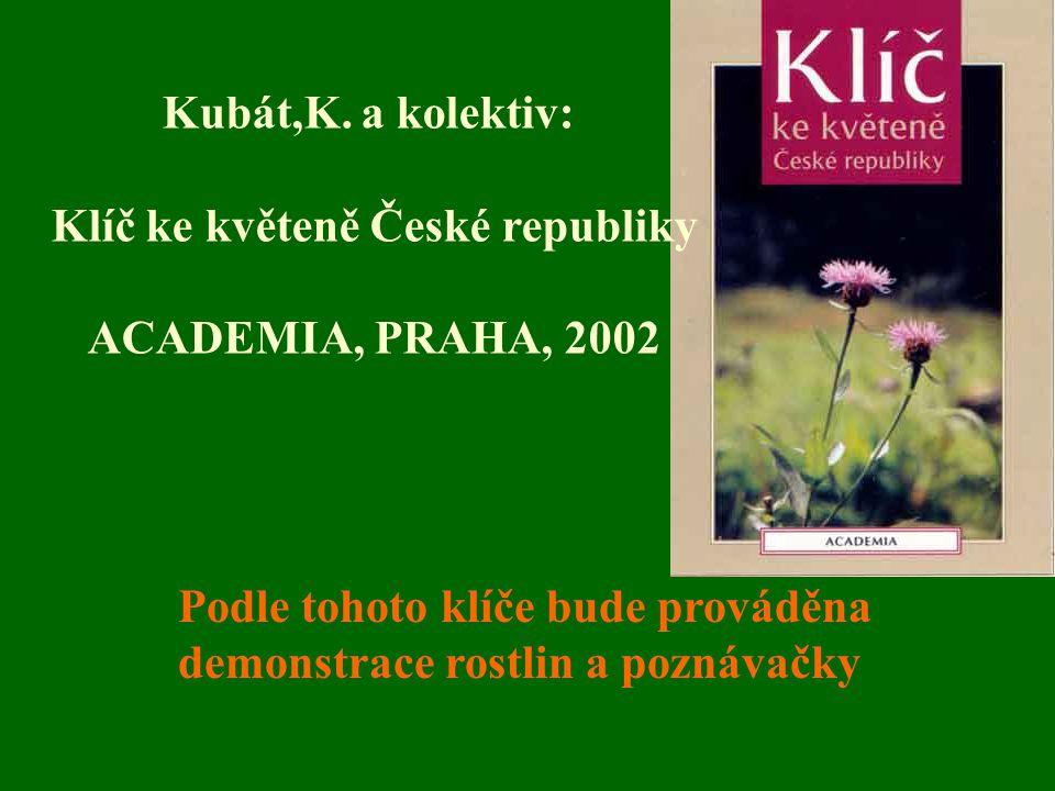 Podle tohoto klíče bude prováděna demonstrace rostlin a poznávačky Kubát,K. a kolektiv: Klíč ke květeně České republiky ACADEMIA, PRAHA, 2002