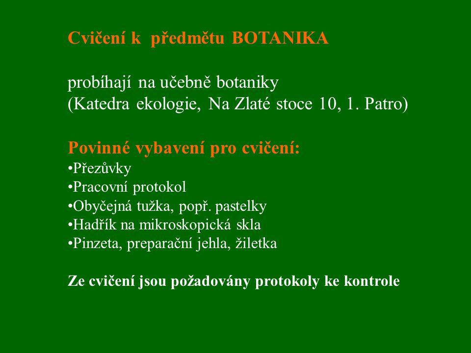Cvičení k předmětu BOTANIKA probíhají na učebně botaniky (Katedra ekologie, Na Zlaté stoce 10, 1. Patro) Povinné vybavení pro cvičení: Přezůvky Pracov