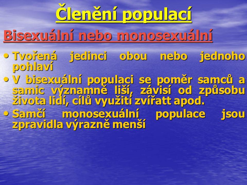 Členění populací Tvořená jedinci obou nebo jednoho pohlaví Tvořená jedinci obou nebo jednoho pohlaví V bisexuální populaci se poměr samců a samic význ