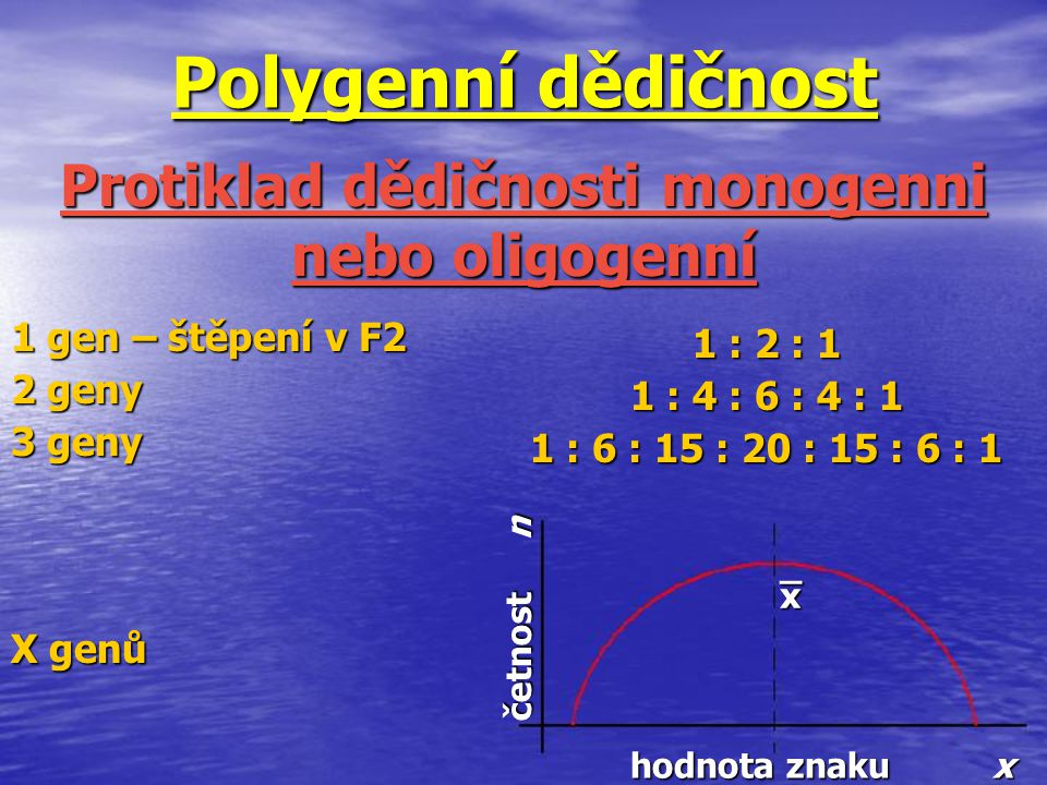 Polygenní dědičnost Protiklad dědičnosti monogenni nebo oligogenní 1 gen – štěpení v F2 2 geny 3 geny X genů 1 : 2 : 1 1 : 4 : 6 : 4 : 1 1 : 6 : 15 :