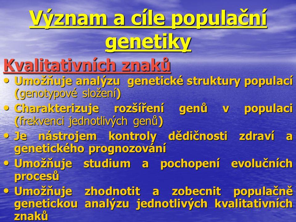Význam a cíle populační genetiky Umožňuje analýzu genetické struktury populací (genotypové složení) Umožňuje analýzu genetické struktury populací (gen
