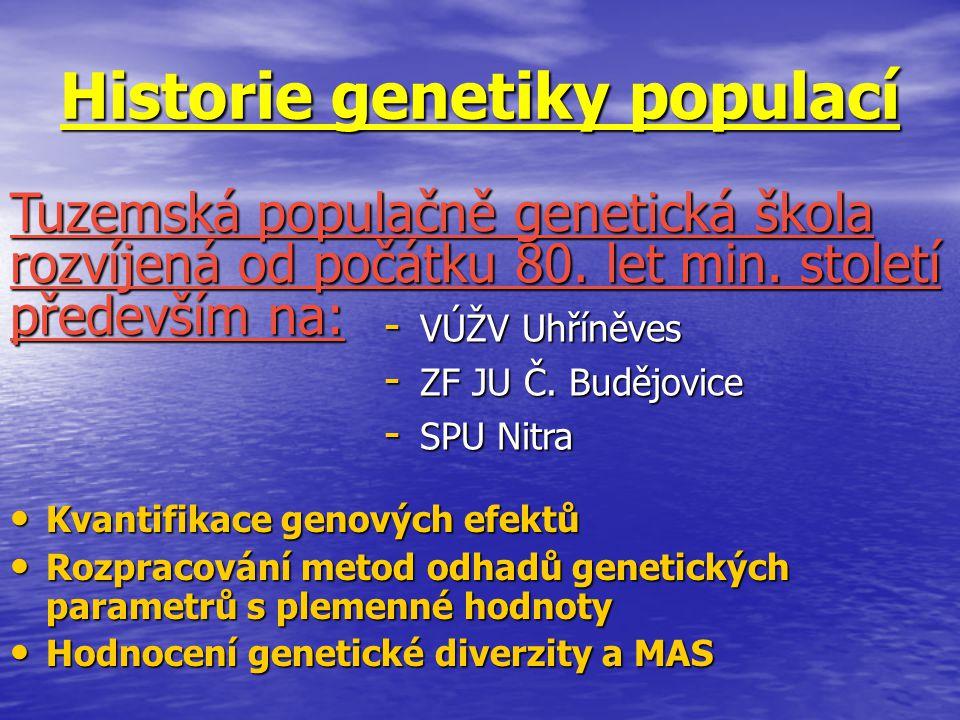 Historie genetiky populací Kvantifikace genových efektů Kvantifikace genových efektů Rozpracování metod odhadů genetických parametrů s plemenné hodnot