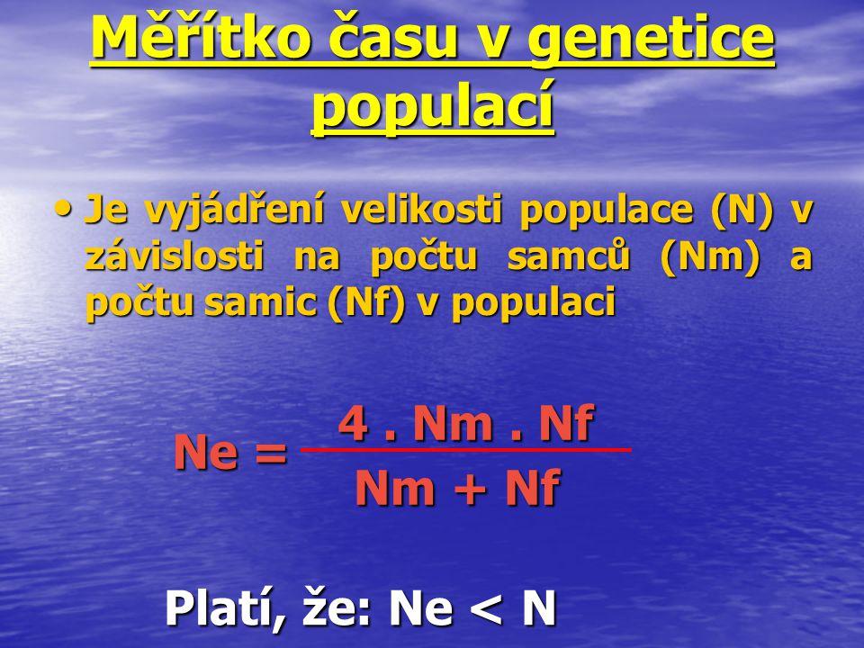 Měřítko času v genetice populací Je vyjádření velikosti populace (N) v závislosti na počtu samců (Nm) a počtu samic (Nf) v populaci Je vyjádření velik