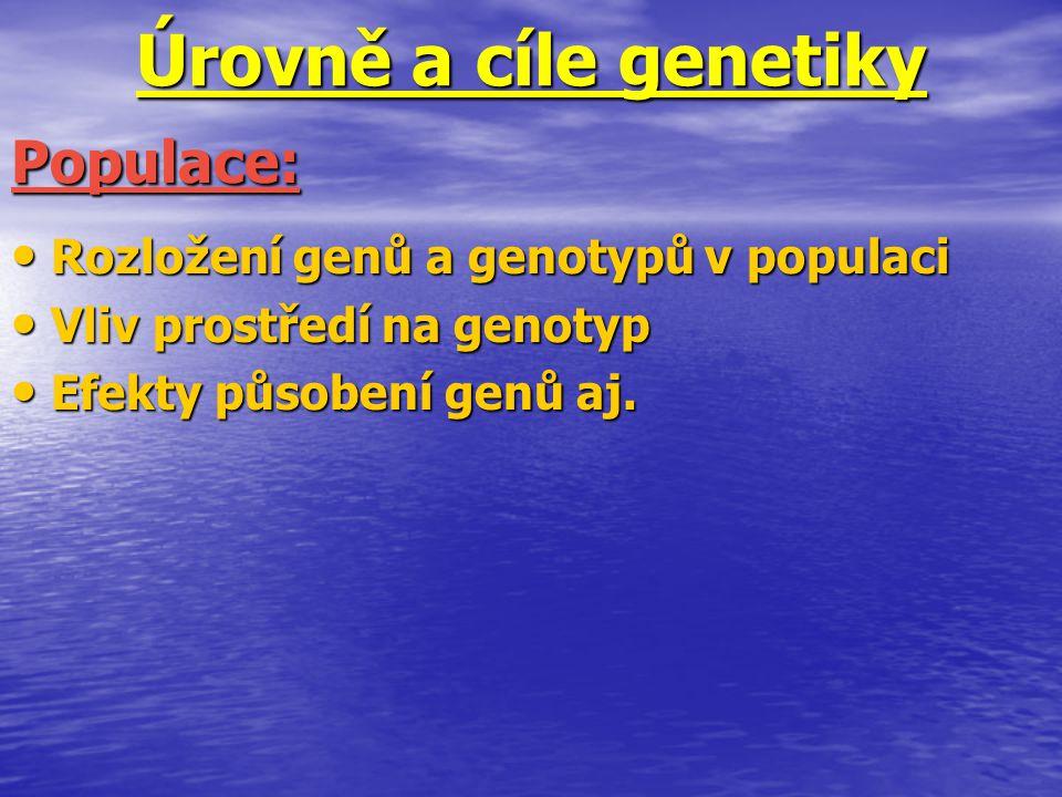 Úrovně a cíle genetiky Rozložení genů a genotypů v populaci Rozložení genů a genotypů v populaci Vliv prostředí na genotyp Vliv prostředí na genotyp E