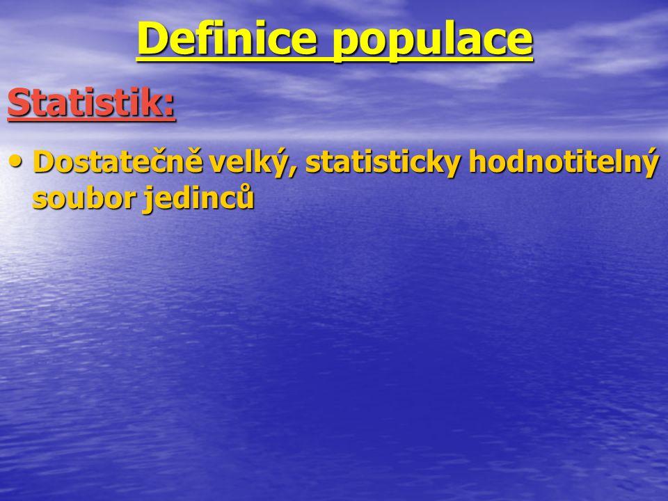 Definice populace Dostatečně velký, statisticky hodnotitelný soubor jedinců Dostatečně velký, statisticky hodnotitelný soubor jedinců Statistik: