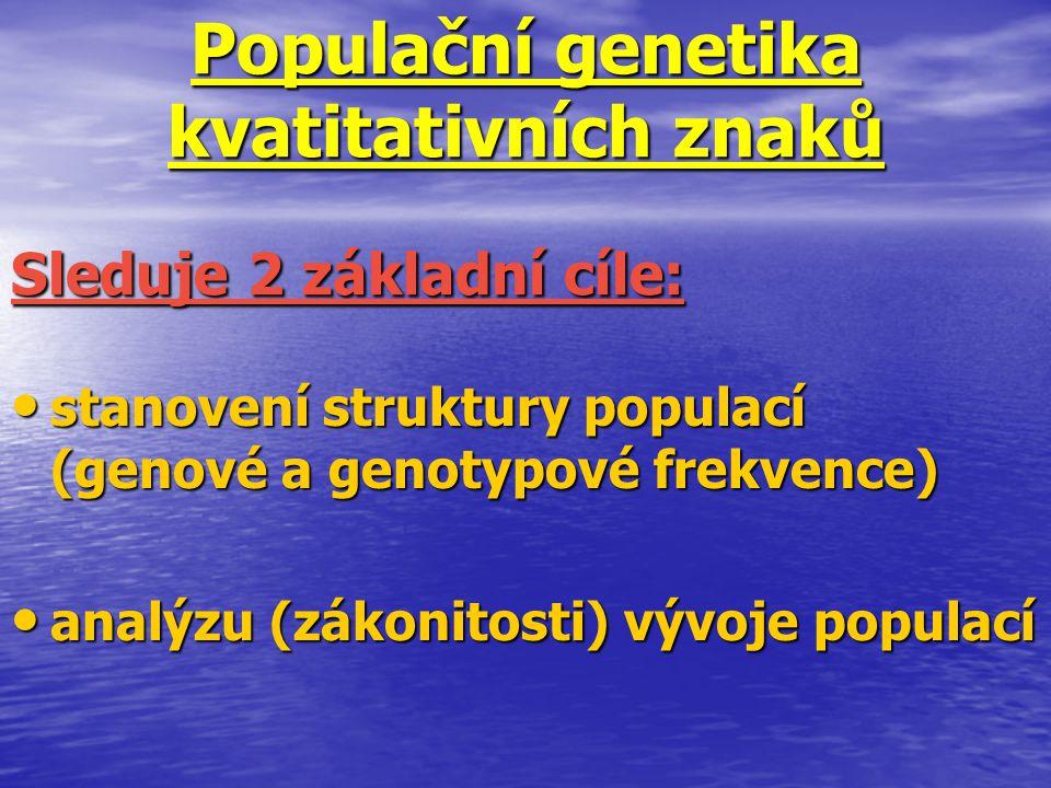 Populační genetika kvatitativních znaků stanovení struktury populací (genové a genotypové frekvence) stanovení struktury populací (genové a genotypové