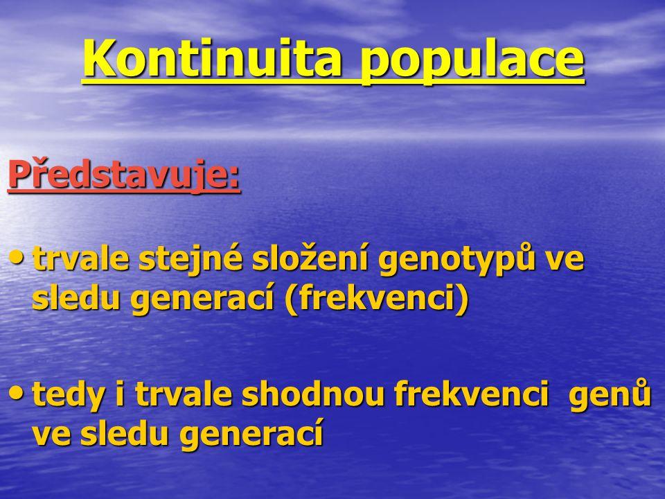 Kontinuita populace trvale stejné složení genotypů ve sledu generací (frekvenci) trvale stejné složení genotypů ve sledu generací (frekvenci) tedy i t