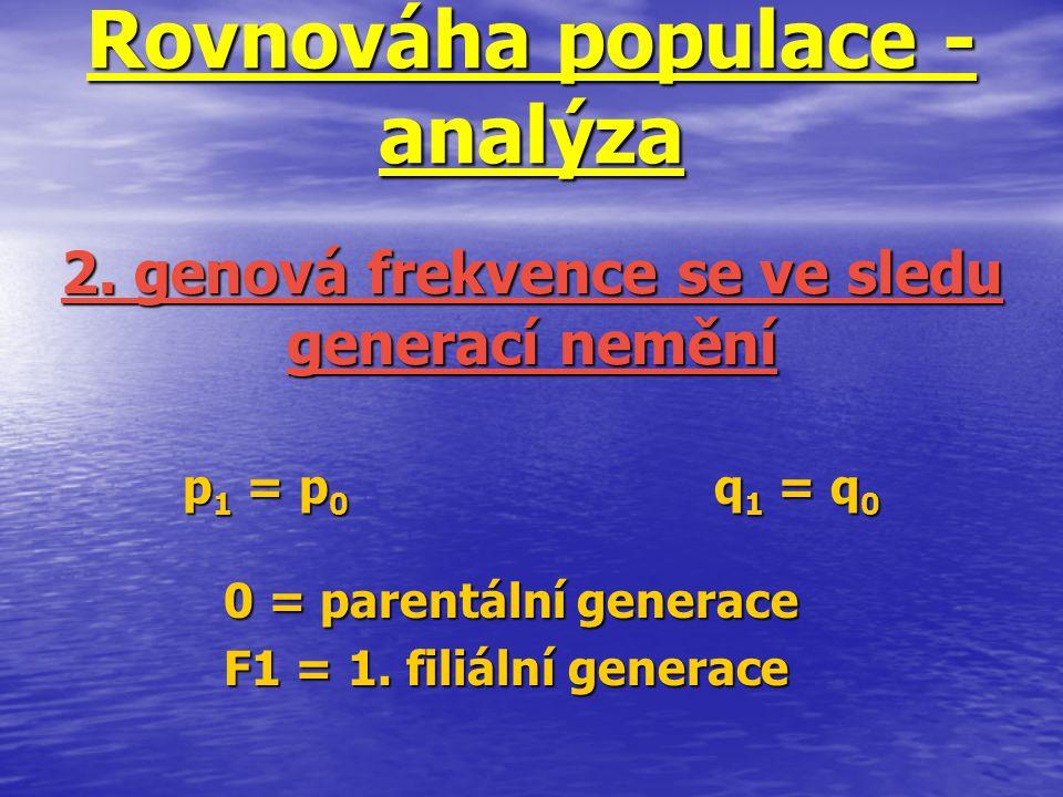 Rovnováha populace - analýza p 1 = p 0 q 1 = q 0 0 = parentální generace F1 = 1. filiální generace 2. genová frekvence se ve sledu generací nemění