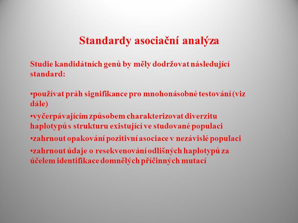 Standardy asociační analýza Studie kandidátních genů by měly dodržovat následující standard: používat práh signifikance pro mnohonásobné testování (viz dále) vyčerpávajícím způsobem charakterizovat diverzitu haplotypů s strukturu existující ve studované populaci zahrnout opakování pozitivní asociace v nezávislé populaci zahrnout údaje o resekvenování odlišných haplotypů za účelem identifikace domnělých příčinných mutací