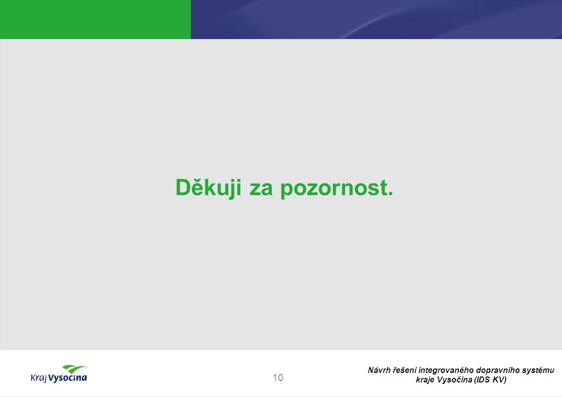 Návrh řešení integrovaného dopravního systému kraje Vysočina (IDS KV) 10 Děkuji za pozornost.