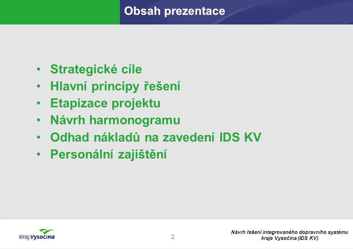 Návrh řešení integrovaného dopravního systému kraje Vysočina (IDS KV) 2 Strategické cíle Hlavní principy řešení Etapizace projektu Návrh harmonogramu