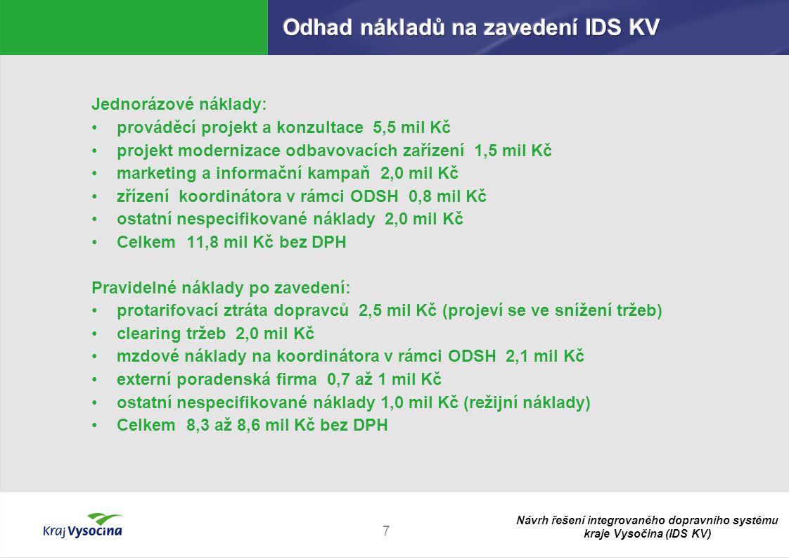 Návrh řešení integrovaného dopravního systému kraje Vysočina (IDS KV) 8 Časové rozlišení nákladů Rok 2010:  1,0 mil Kč marketing a informační kampaň  0,5 mil Kč clearing tržeb  0,8 mil Kč zřízení koordinátora v rámci ODSH  0,7 mil Kč mzdové náklady na koordinátora v rámci ODSH  0,5 mil Kč ostatní nespecifikované náklady CELKEM 3,5 mil Kč bez DPH Rok 2011:  5,5 mil Kč prováděcí projekt a konzultace  1,5 mil Kč projekt modernizace odbavovacích zařízení  1,0 mil Kč marketing a informační kampaň  1,0 mil Kč protarifovací ztráta dopravců  1,5 mil Kč clearing tržeb  1,4 mil Kč mzdové náklady na koordinátora v rámci ODSH  1,5 mil Kč ostatní nespecifikované náklady CELKEM 13,4 mil Kč bez DPH Rok 2012:  2,5 mil Kč protarifovací ztráta dopravců  2,0 mil Kč clearing tržeb  2,1 mil Kč mzdové náklady na koordinátora v rámci ODSH  0,7 až 1,0 mil Kč externí poradenská firma  1,0 mil Kč ostatní nespecifikované náklady CELKEM 8,3 až 8,6 mil Kč bez DPH