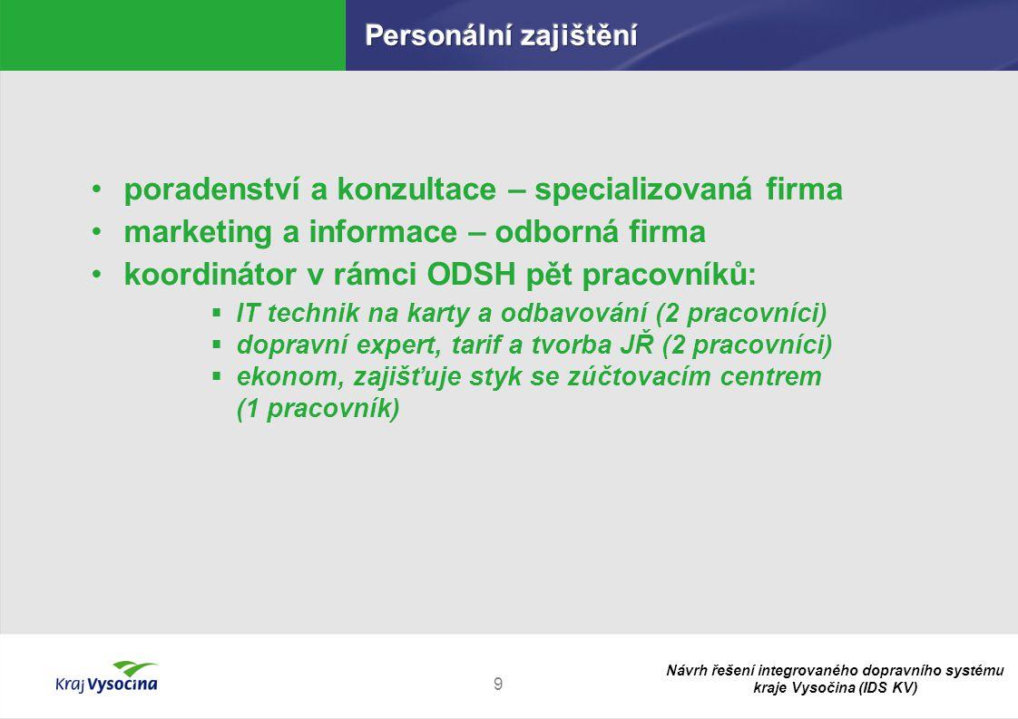 Návrh řešení integrovaného dopravního systému kraje Vysočina (IDS KV) 9 poradenství a konzultace – specializovaná firma marketing a informace – odborn