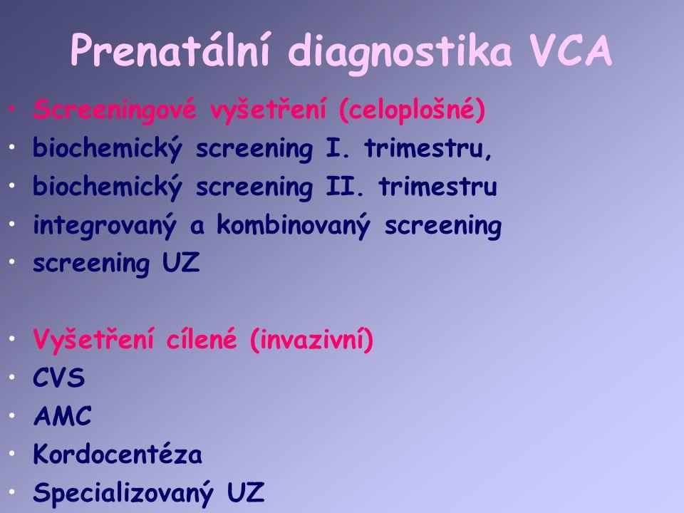 Prenatální diagnostika VCA Screeningové vyšetření (celoplošné) biochemický screening I. trimestru, biochemický screening II. trimestru integrovaný a k