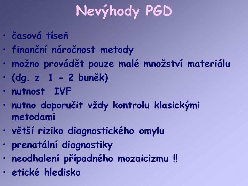 Nevýhody PGD časová tíseň finanční náročnost metody možno provádět pouze malé množství materiálu (dg. z 1 - 2 buněk) nutnost IVF nutno doporučit vždy